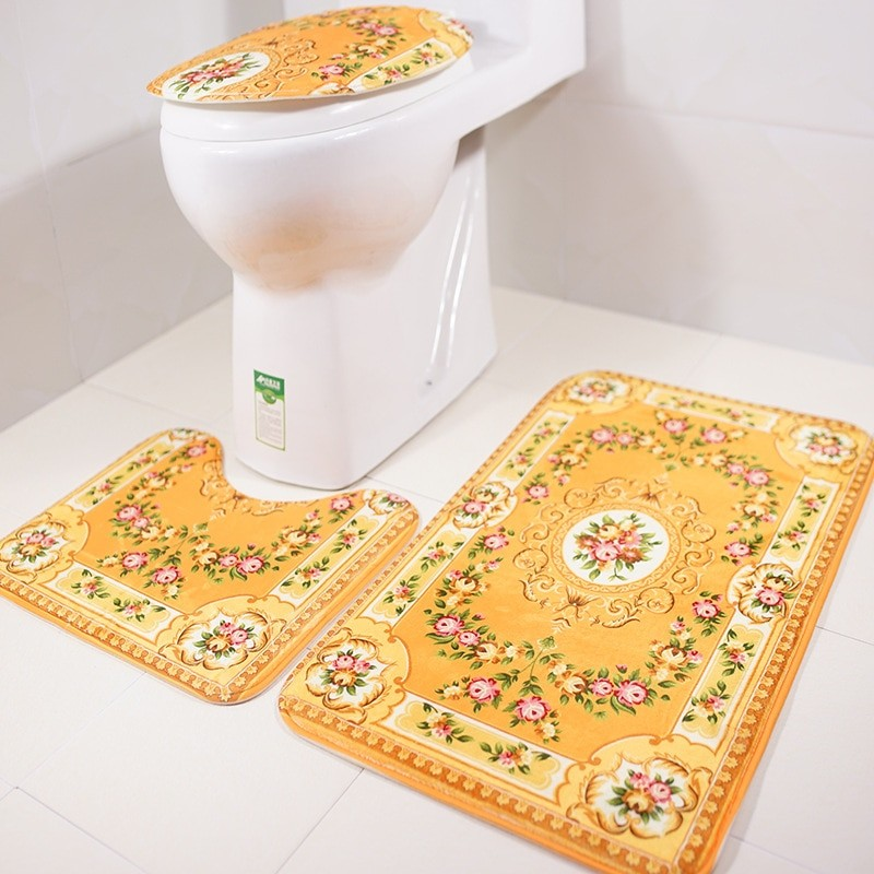 Gold Non-Slip Bathroom Mat Set
