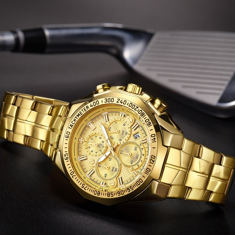 Mens Big Golden Chronograph...
