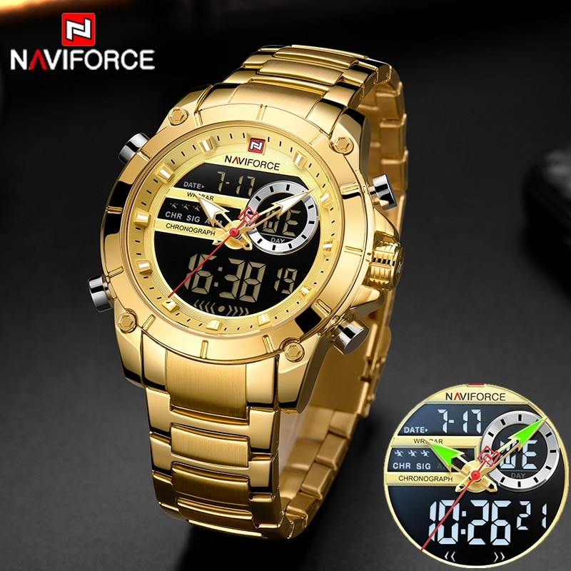 Mens Military Style Gold Watch