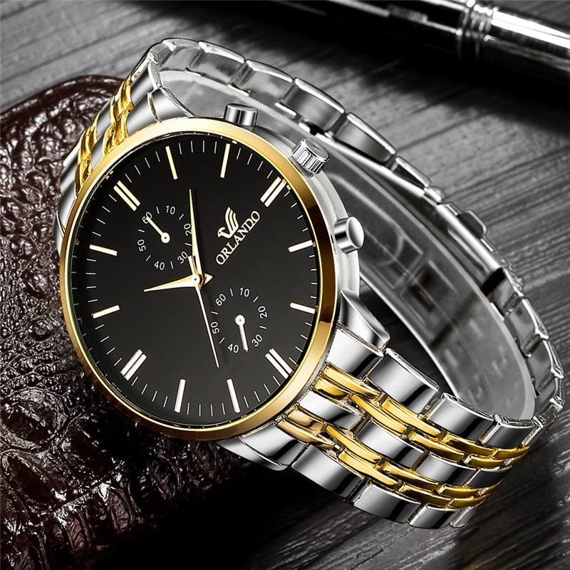 Mens Modern Gold Tinted Watch