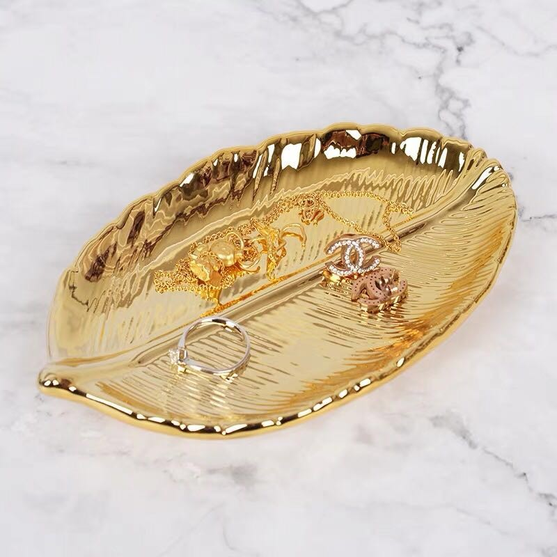 Gold Leaf Ceramic Plate Tray