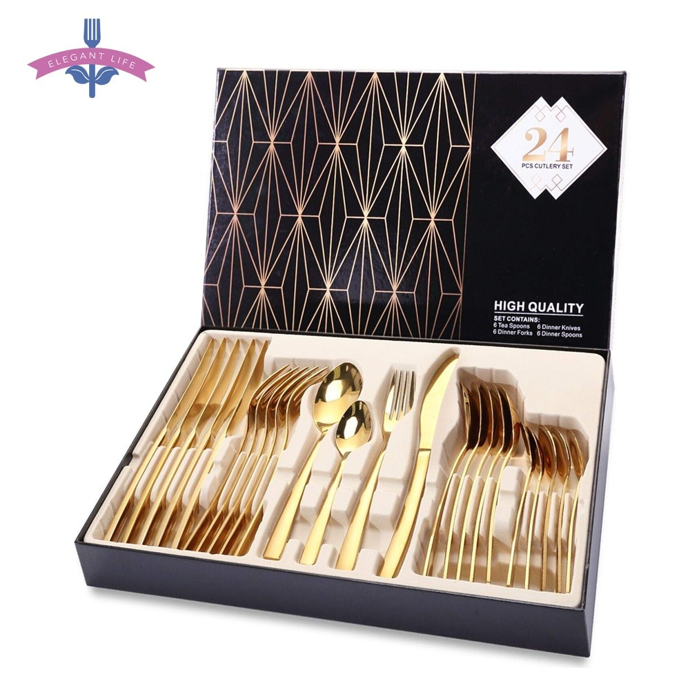 24 pcs Gold Stainless Steel...