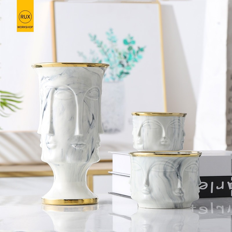 Gold Nordic Face Vase