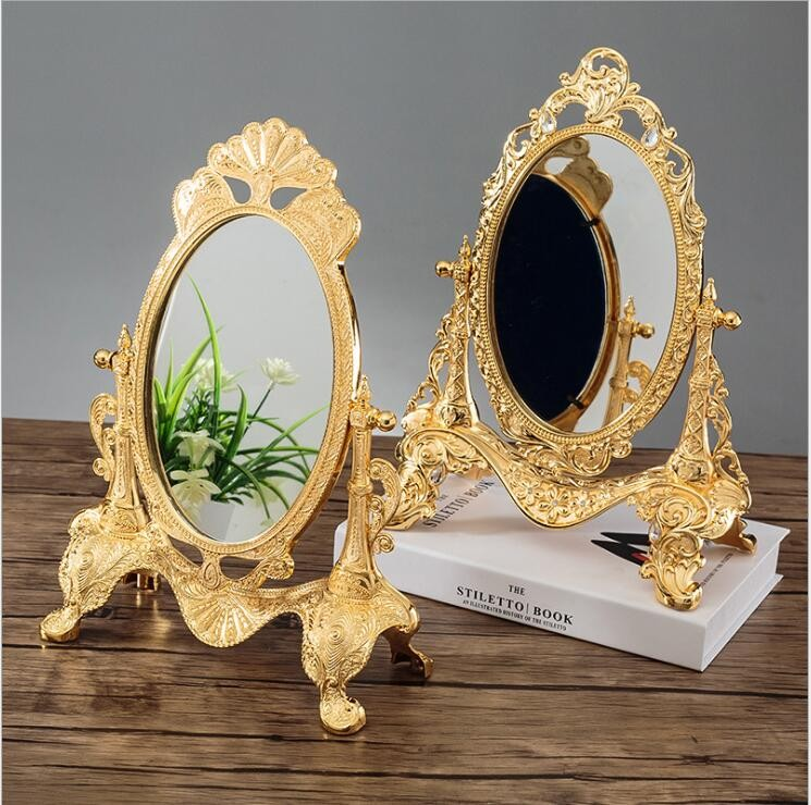 Rotating Gold Desktop Mirror