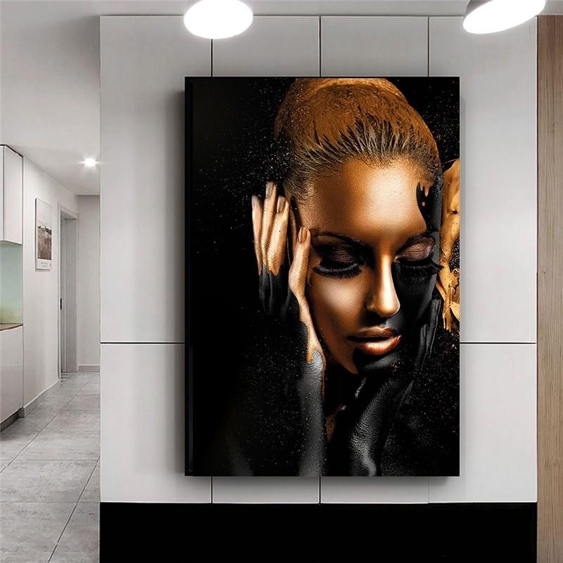 Black Gold Woman African Art
