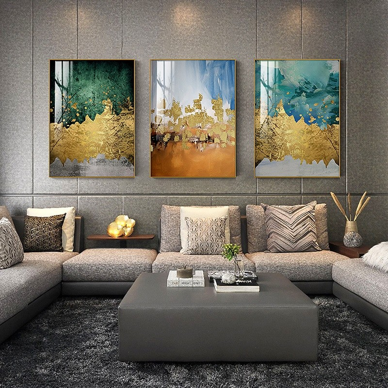 Gold Canvas Painting Abstract