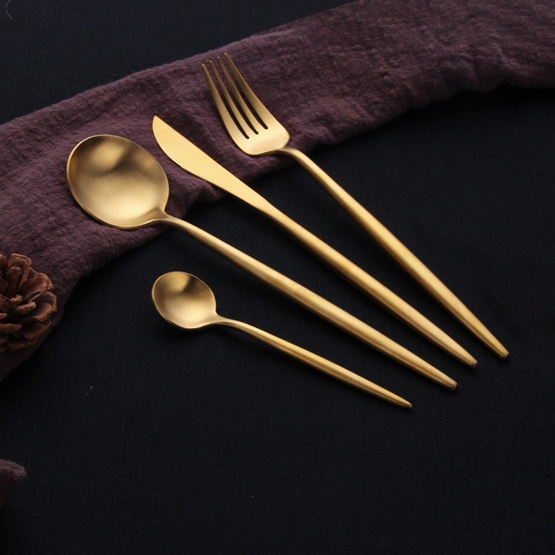 Long Gold Cutlery Set